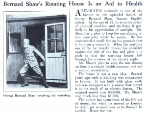 George Bernard Shaw's writing hut newspaper article 1929